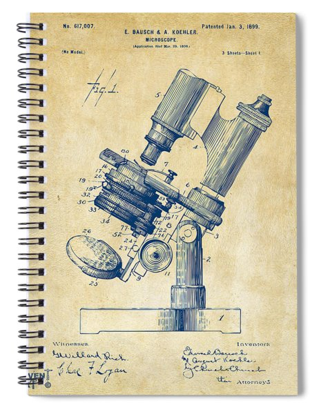 1899 Microscope Patent Vintage Spiral Notebook