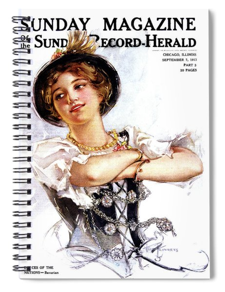 1900s 1913 Smiling German Girl Wearing Spiral Notebook
