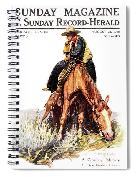 1900s Sunday Magazine Cover Lone Cowboy Spiral Notebook