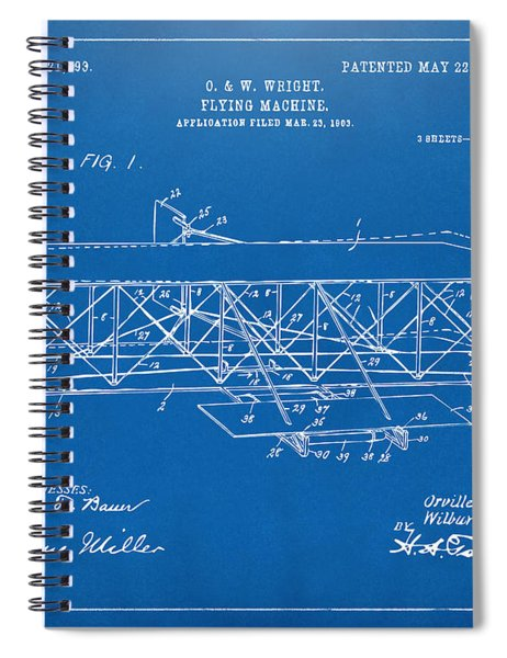 1906 Wright Brothers Flying Machine Patent Blueprint Spiral Notebook