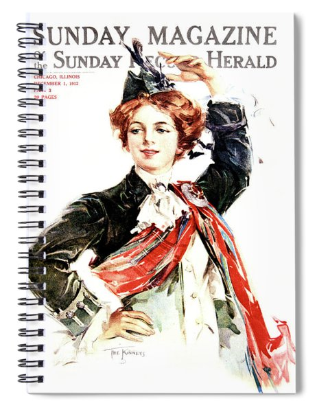 1910s Red Haired Woman Wearing Scottish Spiral Notebook