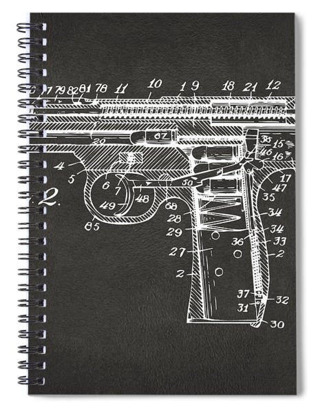 1911 Automatic Firearm Patent Minimal - Gray Spiral Notebook