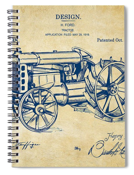 1919 Henry Ford Tractor Patent Vintage Spiral Notebook