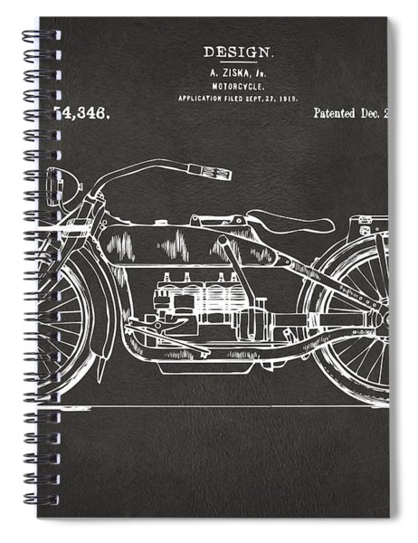 1919 Motorcycle Patent Artwork - Gray Spiral Notebook