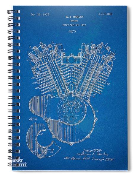 1923 Harley Davidson Engine Patent Artwork - Blueprint Spiral Notebook