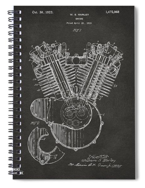 1923 Harley Engine Patent Art - Gray Spiral Notebook