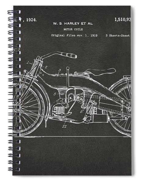 1924 Harley Motorcycle Patent Artwork - Gray Spiral Notebook