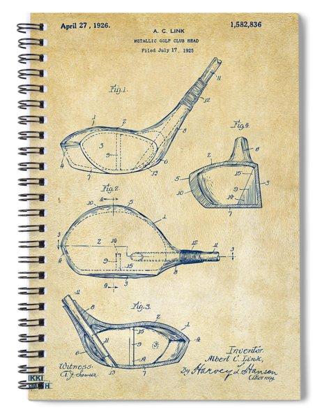 1926 Golf Club Patent Artwork - Vintage Spiral Notebook