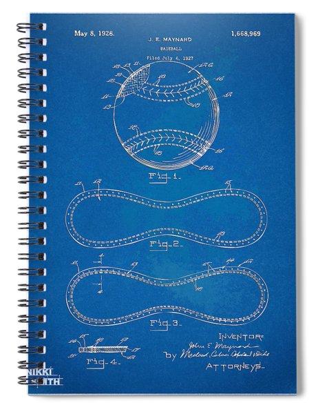1928 Baseball Patent Artwork - Blueprint Spiral Notebook