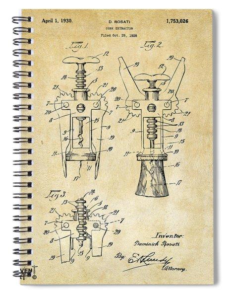 1928 Cork Extractor Patent Art - Vintage Black Spiral Notebook