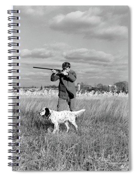 1930s 1940s Man Bird Hunting In Field Spiral Notebook