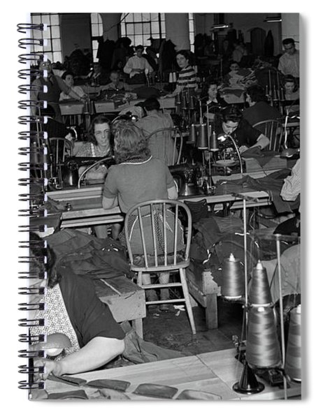 1930s 1940s Sweatshop With Workers Spiral Notebook