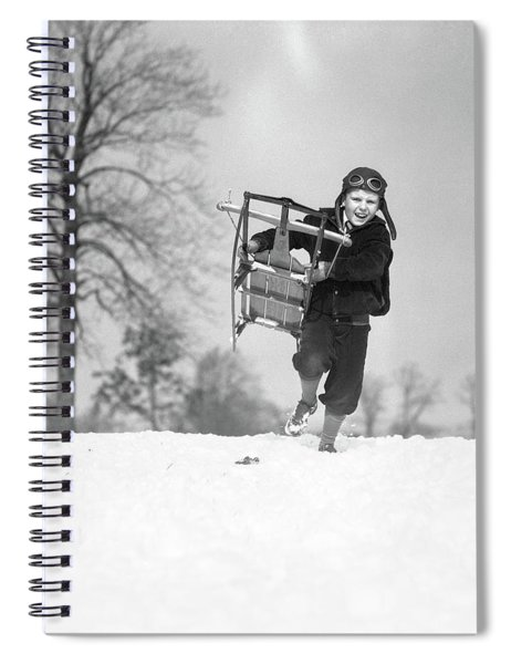 1930s Boy Wearing Aviator Cap Running Spiral Notebook