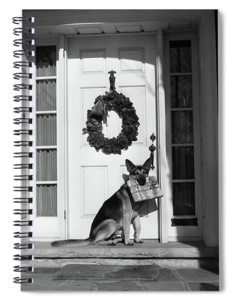 1930s German Shepherd Dog Sitting Front Spiral Notebook