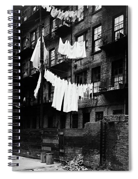 1930s Tenement Building With Laundry Spiral Notebook