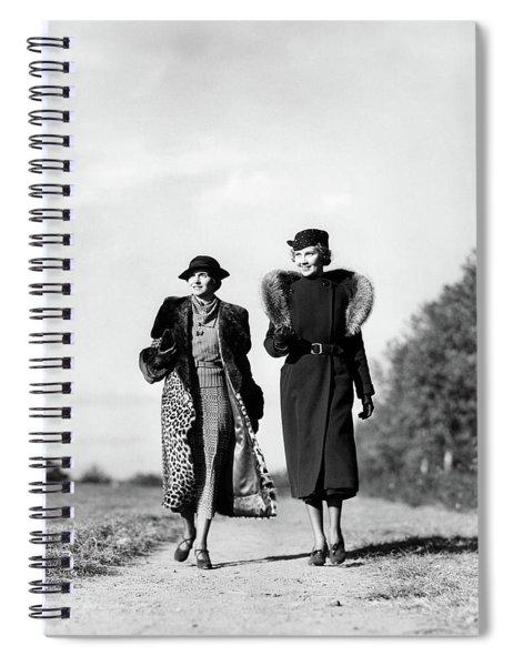 1930s Two Women Walking On Gravel Path Spiral Notebook