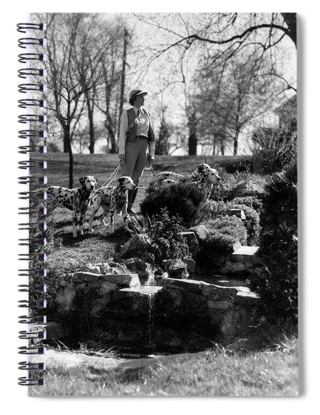 1930s Woman Walking 4 Dalmatian Dogs Spiral Notebook