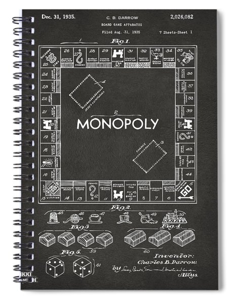 1935 Monopoly Game Board Patent Artwork - Gray Spiral Notebook