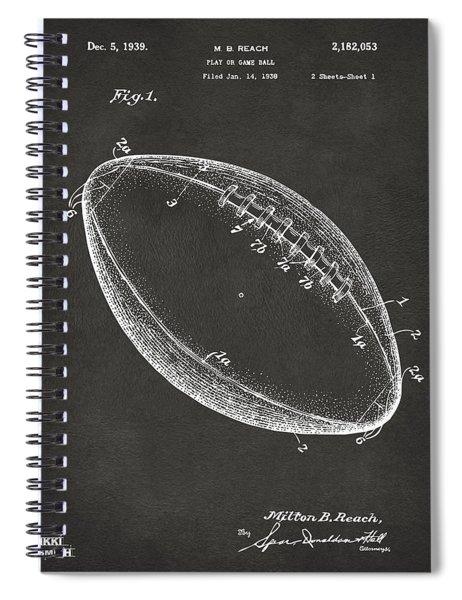 1939 Football Patent Artwork - Gray Spiral Notebook