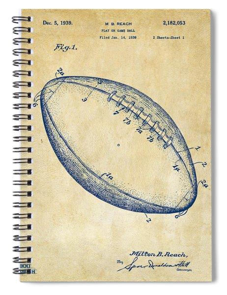 1939 Football Patent Artwork - Vintage Spiral Notebook
