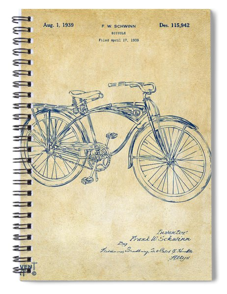1939 Schwinn Bicycle Patent Artwork Vintage Spiral Notebook