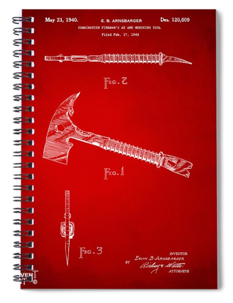 1940 Firemans Axe Artwork Red Spiral Notebook