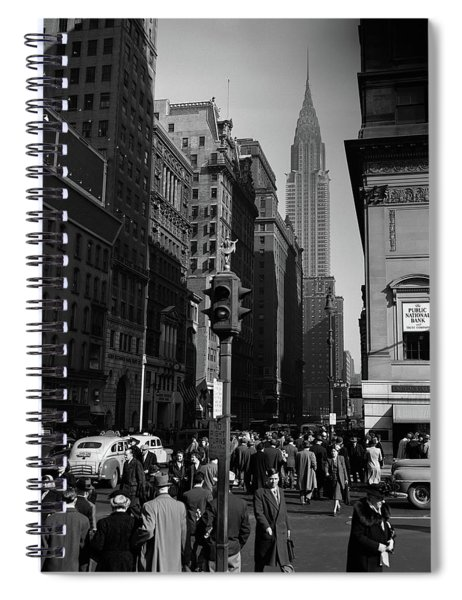 1940s Anonymous Pedestrian Crowd Taxis Spiral Notebook