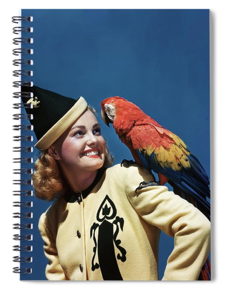 1940s Smiling Blond Woman Wearing Spiral Notebook