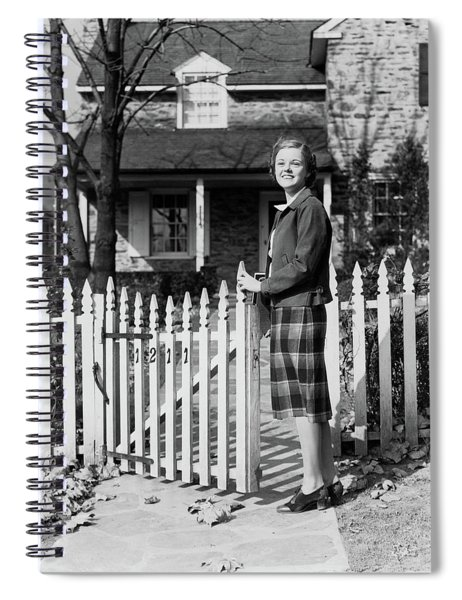 1940s Smiling Pretty Young Teenage Girl Spiral Notebook