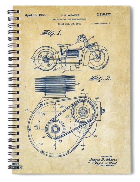 1941 Indian Motorcycle Patent Artwork - Vintage Spiral Notebook