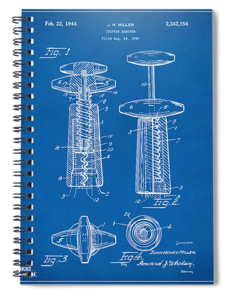 1944 Wine Corkscrew Patent Artwork - Blueprint Spiral Notebook