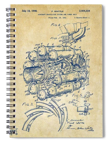 1946 Jet Aircraft Propulsion Patent Artwork - Vintage Spiral Notebook