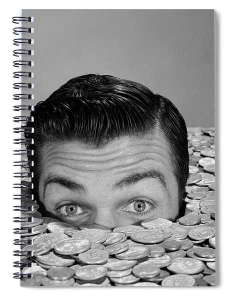 1950s 1960s Funny Man Buried Up To Eyes Spiral Notebook