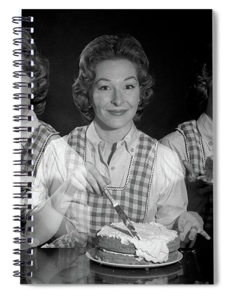 1950s 1960s Triple Exposure Smiling Spiral Notebook