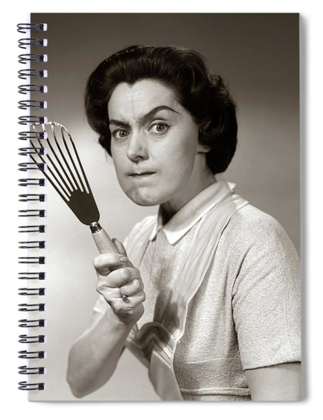 1950s-60s Portrait Of Angry Housewife Spiral Notebook