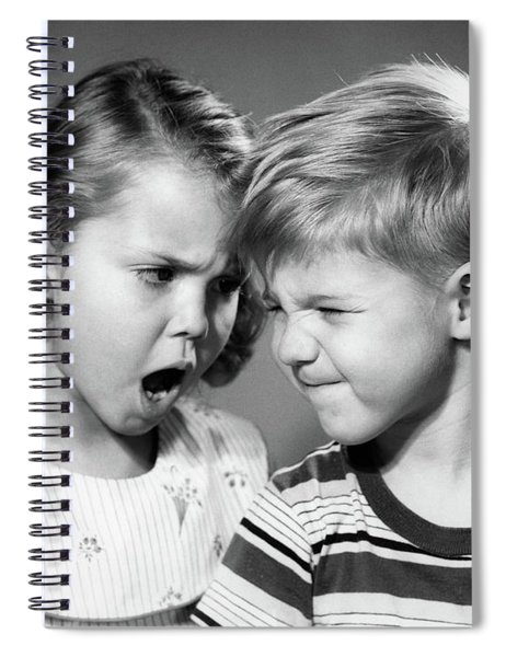 1950s Boy And Girl Arguing Head To Head Spiral Notebook