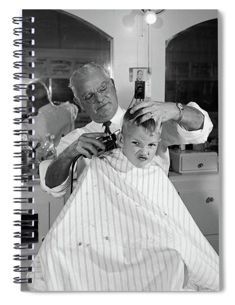 1950s Boy In Barbershop Getting Spiral Notebook