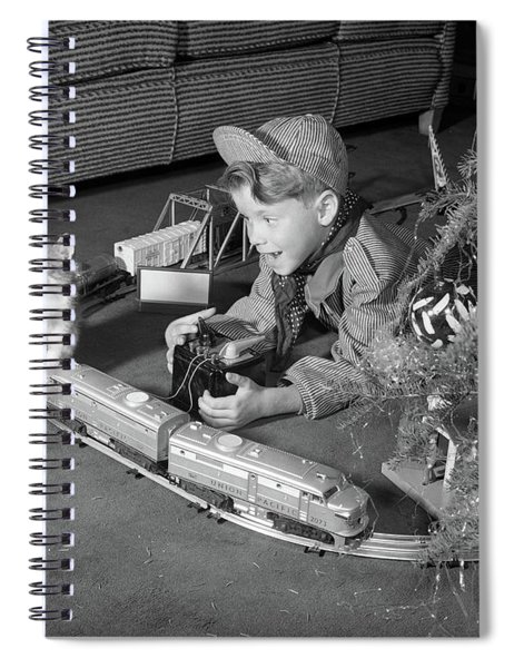 1950s Boy In Engineer Outfit Spiral Notebook