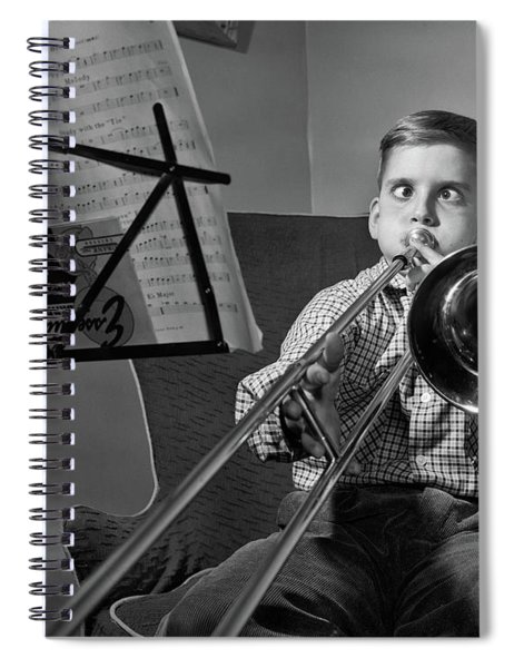 1950s Funny Cross-eyed Boy Playing Spiral Notebook