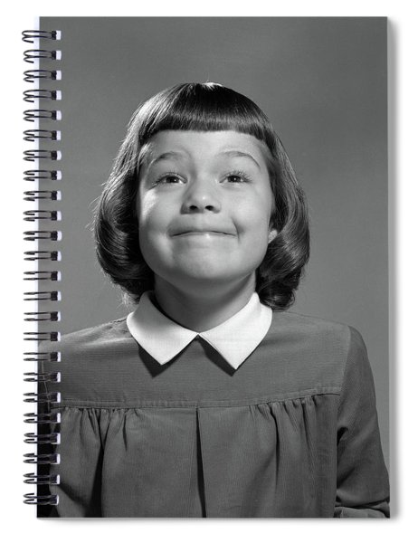 1950s Girl Page Boy Hair Bangs Smiling Spiral Notebook