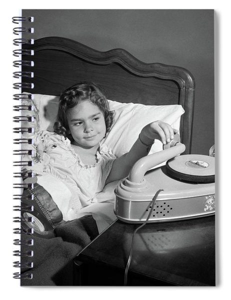 1950s Girl Sick In Bed Playing Records Spiral Notebook