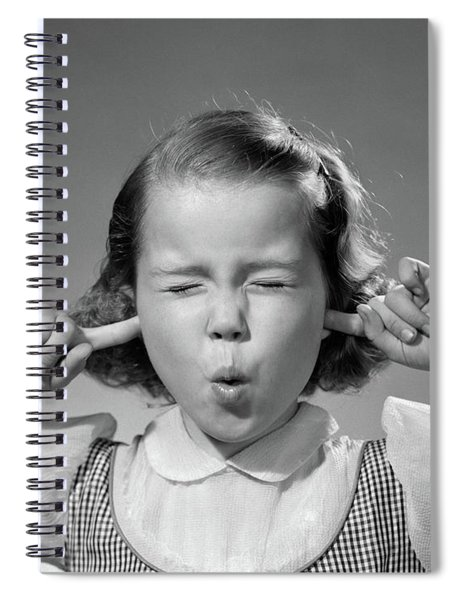 1950s Girl With Fingers In Ears Eyes Spiral Notebook