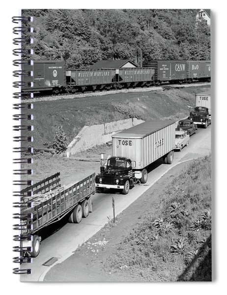 1950s Line Of Traffic With Many Trucks Spiral Notebook