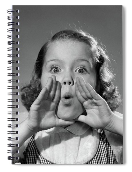 1950s Little Girl Hand Cupping Mouth Spiral Notebook