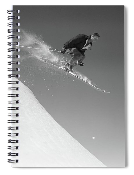 1950s Man Skiing Downhill Off Slope Spiral Notebook