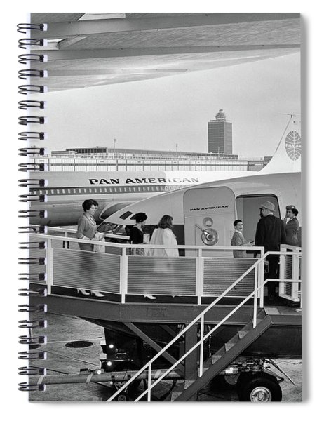 1950s Men And Women Walking Down Ramp Spiral Notebook by Vintage Images