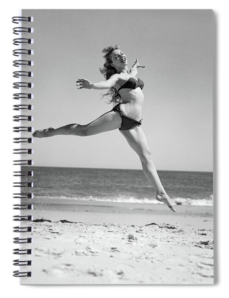1950s Woman In Bikini Running Spiral Notebook