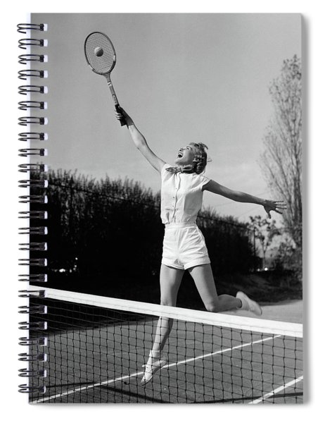 1950s Woman Jumping To Hit Tennis Ball Spiral Notebook