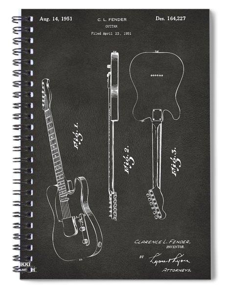 1951 Fender Electric Guitar Patent Artwork - Gray Spiral Notebook
