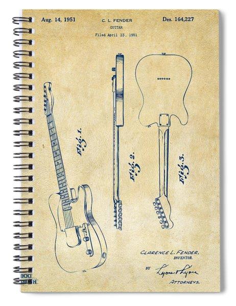 1951 Fender Electric Guitar Patent Artwork - Vintage Spiral Notebook